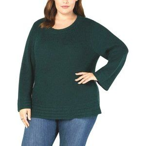 Style & Co Plus 0X 1X Sweater Knit Top Green